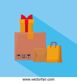 shopping online concept, shopping bag, boxes and gift box, colorful design