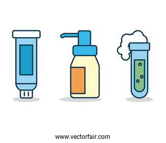 medicine concept, cleaning bottles and test tube icon