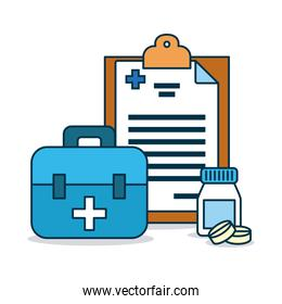 medical report, first aid kit and medicine pills bottle, colorful design