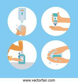 cleaning preventions icon set, colorful design