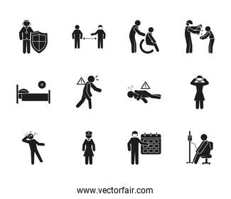 pictogram people and Covid 19 preventions icon set, silhouette style