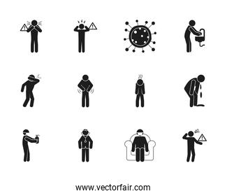 pictogram Covid 19 preventions icon set, silhouette style