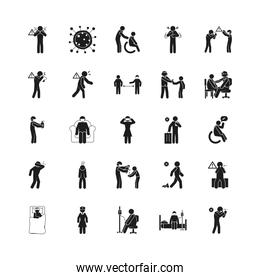 symptoms of Covid 19 and preventions icon set, silhouette style