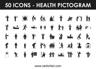 health and Covid 19 preventions icon set, silhouette style