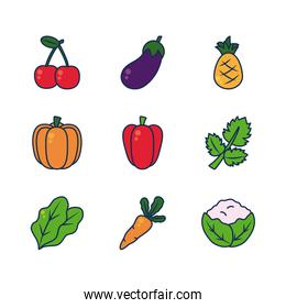 carrot, vegetables and fruits icon set, line and fill style