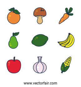 orange, vegetables and fruits icon set, line and fill style