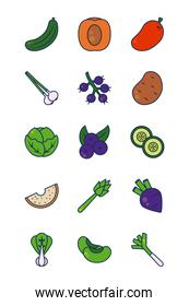 cucumber, vegetables and fruits icon set, line and fill style
