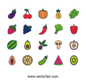 eggplant, fruits and vegetables icon set, line and fill style