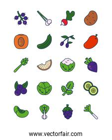 peach, vegetables and fruits icon set, line and fill style