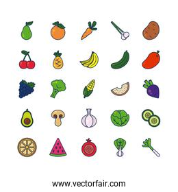 watermelon, vegetables and fruits icon set, line and fill style