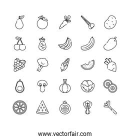 watermelon, vegetables and fruits icon set, line style