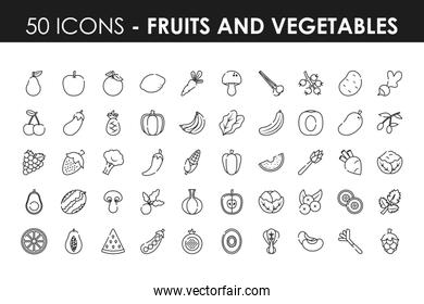 fruits and vegetables icon set, line style