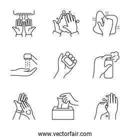 soap bar and hand hygiene icon set, line style
