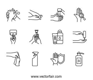 water and hand hygiene icon set, line style