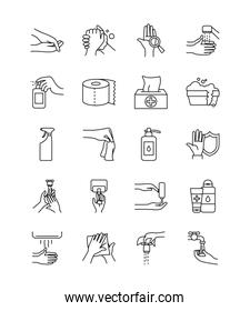 tissues box and hand hygiene icon set, line style