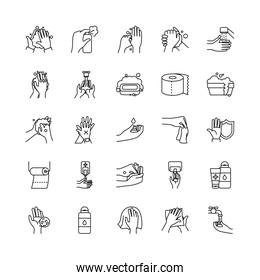 cleaning hands and hygiene icon set, line style
