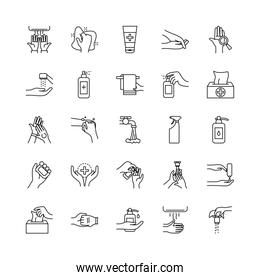 hand hygiene and cleaning icon set, line style