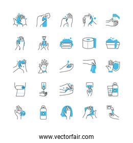 cleaning hands and hygiene icon set, half color half line style