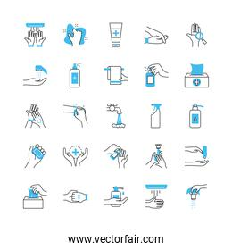 hand hygiene and cleaning icon set, half color half line style
