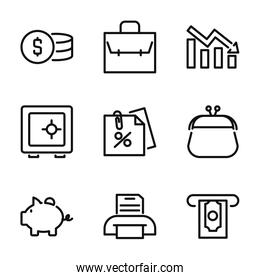 business, finance and economy icon set, line style