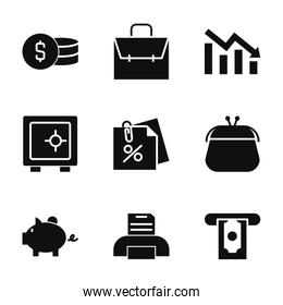business, finance and economy icon set, silhouette style