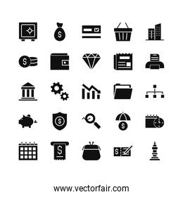 dataphone, finance and economy icon set, silhouette style