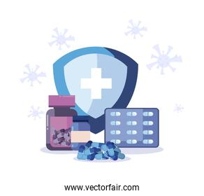 Shield with cross medicine jars and pills vector design