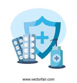 Shield with cross pills and soap bottle vector design