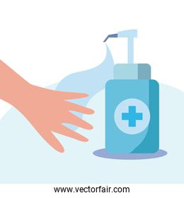 Hand and soap bottle with cross vector design