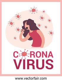 Isolated coronavirus and woman with dry cough vector design