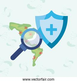 Map lupe and Covid 19 virus vector illustration