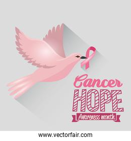 poster breast cancer awareness month with dove and ribbon