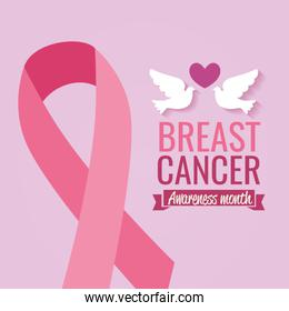 poster breast cancer awareness month with doves and ribbon