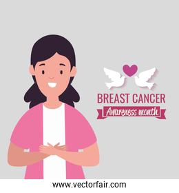 poster breast cancer awareness month with woman