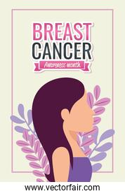 poster breast cancer awareness month with profile of woman