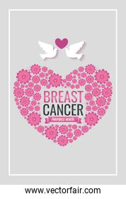 poster breast cancer awareness month with heart and doves