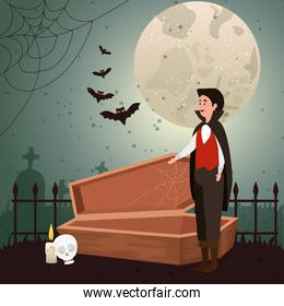 young man disguised of vampire in scene halloween