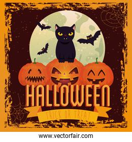 halloween pumpkins with cat and bats flying