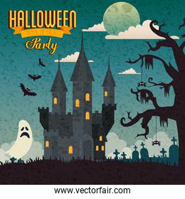poster of party halloween with castle haunted and icons
