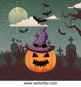 pumpkin with hat of witch in scene halloween