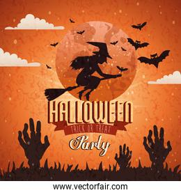 poster of party halloween with witch flying