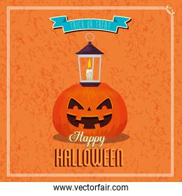 poster of happy halloween and pumpkin with lamp