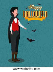 poster of happy halloween with young man disguised of vampire