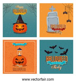 set of poster happy halloween with decoration