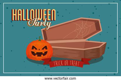 poster of party halloween with pumpkin and coffin
