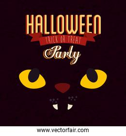 poster of party halloween with face cat