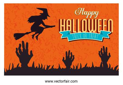 poster of happy halloween with hands zombie and witch flying