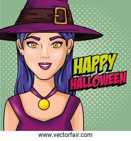young woman with hat witch style pop art