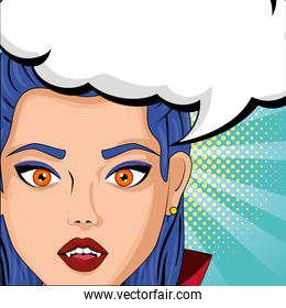 face woman disguised of vampire with speech bubble style pop art