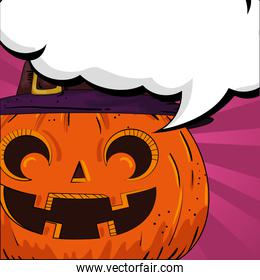 halloween pumpkin with hat witch and speech bubble pop art style